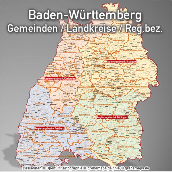 PowerPoint-Karte Baden-Württemberg Landkreise Gemeinden Regierungsbezirke PowerPoint-Landkarte Karte für PowerPoint