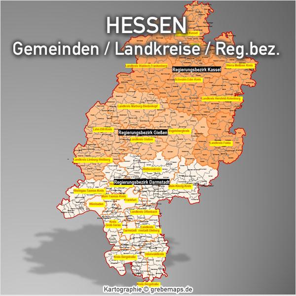 PowerPoint-Karte Hessen Landkreise Gemeinden Bundesland Karte Hessen PowerPoint