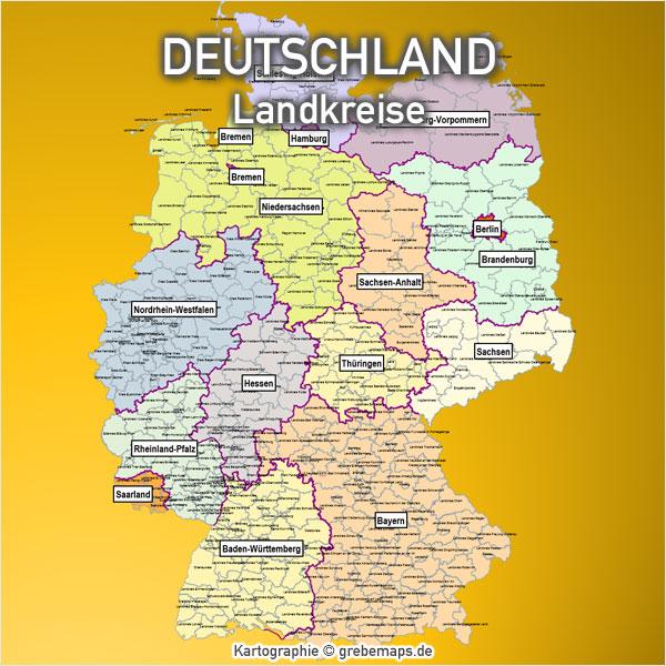 PowerPoint-Karte Deutschland Landkreise Karte für PowerPoint
