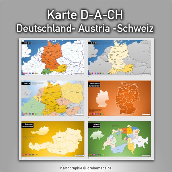 PowerPoint-Karte D-A-CH Deutschland Austria Schweiz Karte PowerPoint