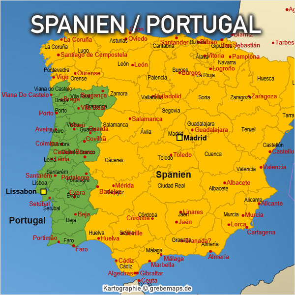 PowerPoint-Karte Spanien Portugal mit Provinzen Karte Spanien Karte Portugal Provinzen PowerPoint