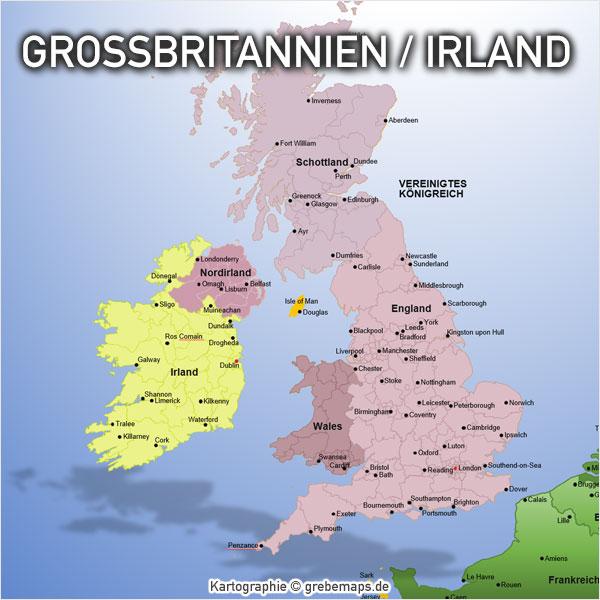 PowerPoint-Karte Großbritannien Irland England Schottland Nordirland Wales mit Provinzen Karte Großbritannien