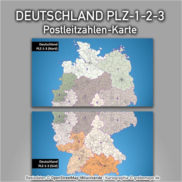 PowerPoint-Karte Deutschland Postleitzahlen PLZ-1-2-3 (1-stellig, 2-stellig, 3-stellig) Karte Postleitzahlen Postleitzahlenkarte PowerPoint