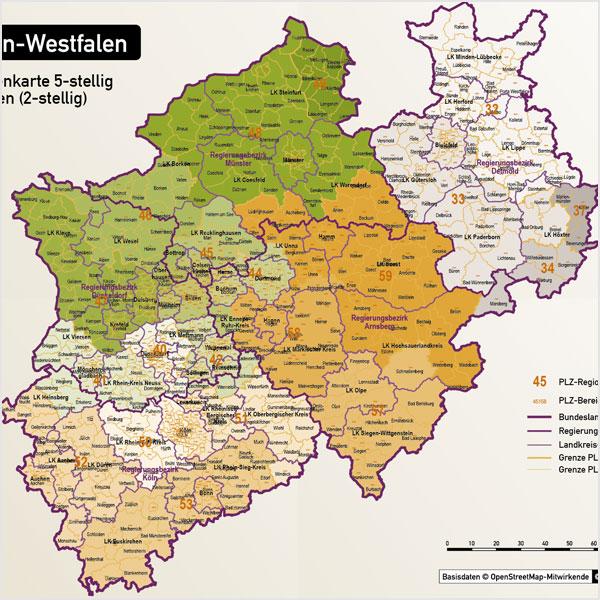 Karte Nordrhein-Westfalen Postleitzahlen 5-stellig 2-stellig PLZ-5 PLZ-2 Landkreise Autobahnen Gewässer Vektorkarte