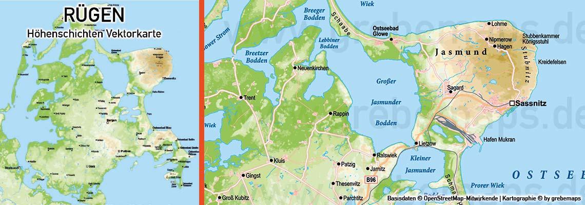 Karte Rügen, Vektorkarte Rügen, Inselkarte Rügen, Karte Insel Rügen, Landkarte Rügen, RügenKarte, Karte Vektor Rügen