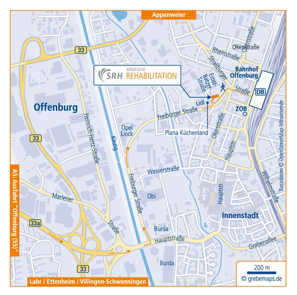 Anfahrtsskizze Erstellen Offenburg, Anfahrtskarte Erstellen, Lageplan Erstellen, Standortkarte Erstellen, Anfahrtsplan Erstellen