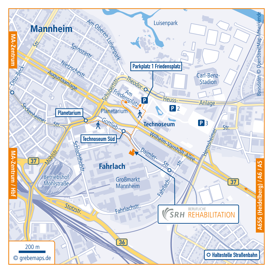 Anfahrtsskizze Erstellen Mannheim SRH, Anfahrtskarte Erstellen, Lageplan Erstellen, Standortkarte Erstellen, Anfahrtsplan Erstellen