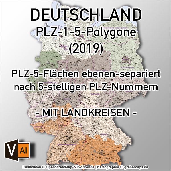 Karte Postleitzahlen Deutschland 5-stellig mit Landkreisen