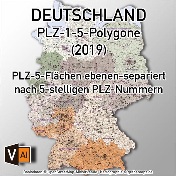 Karte Postleitzahlen Deutschland 5-stellig